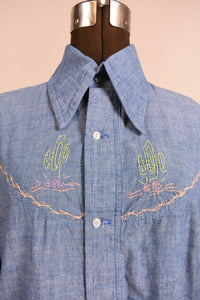 Blue 70s hand embroidered chambray western shirt,  M/L