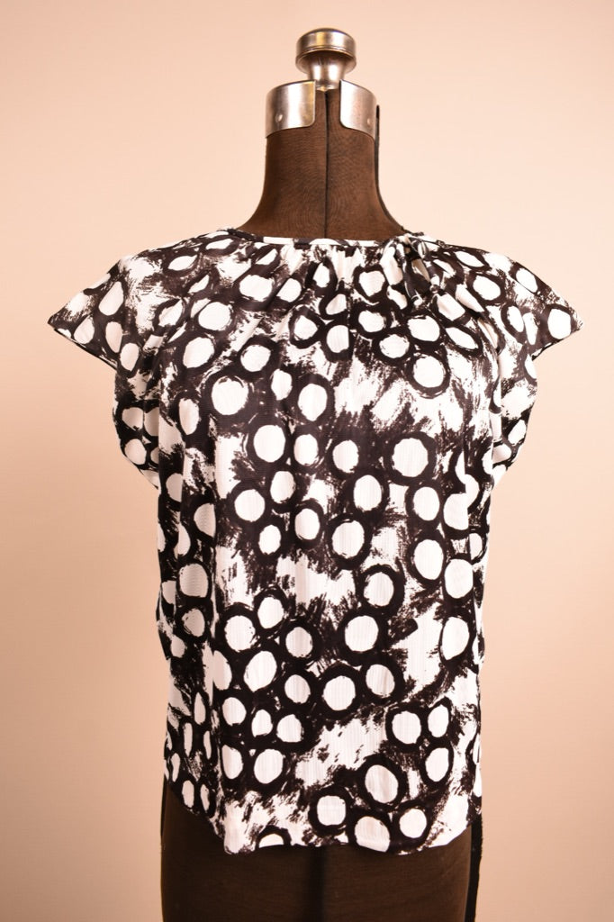 Black & White 1960s Circle Print Top, By Lovely Lady by Major, M/L