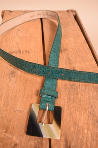 Green Leather Belt With Tortoiseshell Buckle, S/M