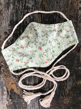 Load image into Gallery viewer, Mint Green Prairie Floral Calico Face Mask with Tassels, Handmade