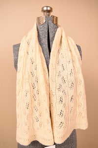 Crocheted Ivory Wool Scarf