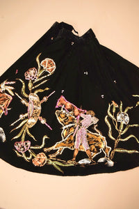 Black 40s/50s Velvet Mexican Painted Bullfighter Circle Skirt, By Salpra, M