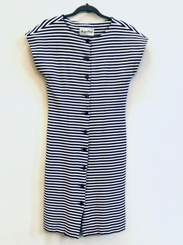 Blue and white striped cotton dress 1990s, by Bill Geoffreys, S/M