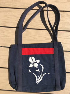 Navy 70s Canvas Wildflower Tote/Purse