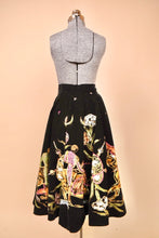 Load image into Gallery viewer, Black 40s/50s Velvet Mexican Painted Bullfighter Circle Skirt, By Salpra, M