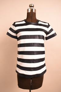 Black & White Lambskin Striped Short Sleeve Leather Top, By Theory, S/M