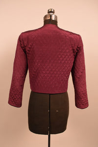 Burgundy Quilted Jacket, By Allen Jolly, S/M