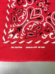Red 70s/80s Deadstock Fast Color Bandana, Made in USA