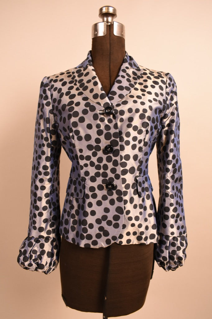 Silver Iridescent Blazer With Black Polka Dots, By Moschino Cheap & Chic, XS/S