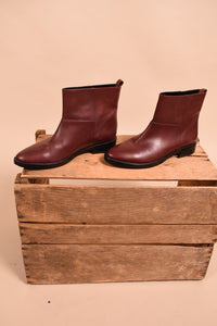 Wine Color Leather Boots, By Theory, 7