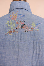 Load image into Gallery viewer, Blue 70s hand embroidered chambray western shirt,  M/L