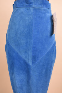 Blue 90's Suede Italian Made Skirt, M/L