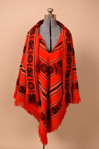 Red Folk Print Ecuadorian Poncho With Scarf, By Tejidos Diaz, M/L