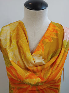 Yellow Flower Cowl Neck Blouse, N/A M