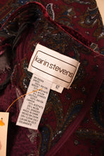Load image into Gallery viewer, Burgundy 80s Dress With Smocked Velvet Bodice, By Karin Stevens, M/L