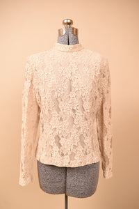 Beige Lace Top, By Ursula of Switzerland, M
