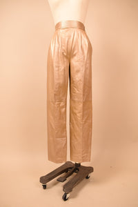 Gold 80s Pleated Leather Pants, By Suzelle, XS/S