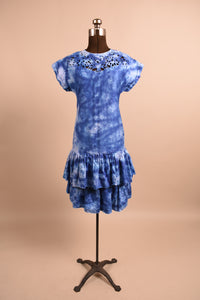 Hand Dyed Indigo Cotton Drop Waist Dress, By Belle France, S
