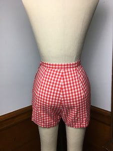 Red 60s Gingham Shorty Shorts, Girltown XS