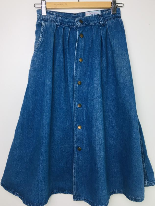 Blue 1970s Denim Snap Front Skirt by Weathered Blues XS/S