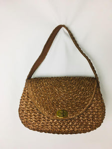 Tan 60s Straw Purse