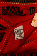 Load image into Gallery viewer, Red Folk Print Ecuadorian Poncho With Scarf, By Tejidos Diaz, M/L