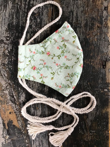 Mint Green Prairie Floral Calico Face Mask with Tassels, Handmade