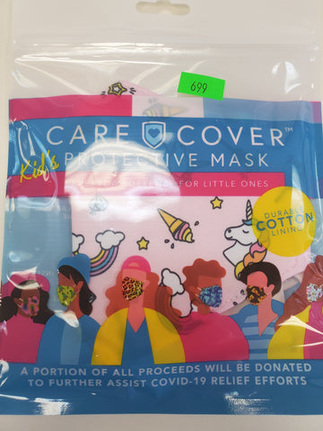 Kid Mask: Pink with rainbows and unicorns