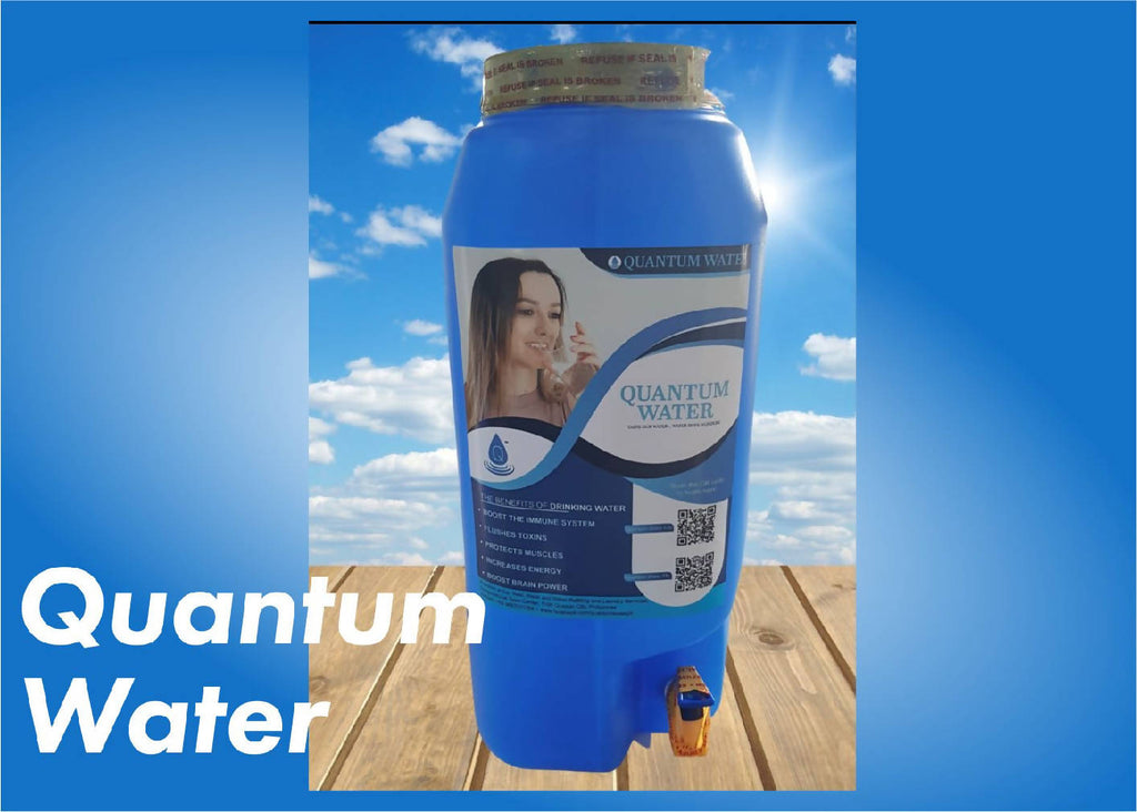 "A Quantum Water Rectangle 5 Gallon Jug with Faucet ""Health Booster"""