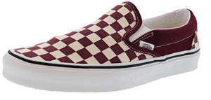 ,(Mix Checker) Chili Peppe, Vans Unisex Walking Skate Shoes Vulcanized Rubber Classic Slip On
