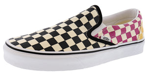 ,True White 07,,Black/White Checkerboard,,Black,,Black/Black09,,(Checkerboard)Gldnhztrwht,,(Checkerboard)Blmirgtrwht,,(Checkerboard)Silvertrwht,,Multi / True White Glitter, Vans Unisex Walking Skate Shoes Vulcanized Rubber Classic Slip On