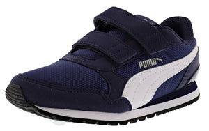 ,Peacoat-Meadowlark-Puma White, Puma Kids ST Runner v2 Mesh Hook And Loop V PS Shoes