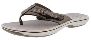 ,Black, Clarks Women Cloudsteppers Walking Flip Flop Sandals Brinkley Sun