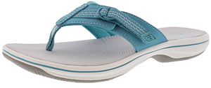 ,Black,,Pewter,,Silver, Clarks Women Cloudsteppers Walking Flip Flop Sandals Brinkley Sun