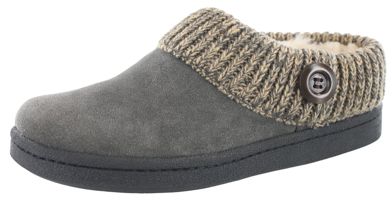 Clarks Women's Knitted Collar Clog Winter Slippers Angelina