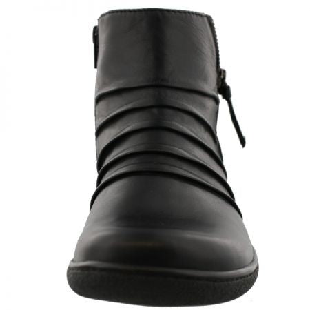 Clarks Women Easy On And Off Back Zipper Black Winter Dress Casual Boots
