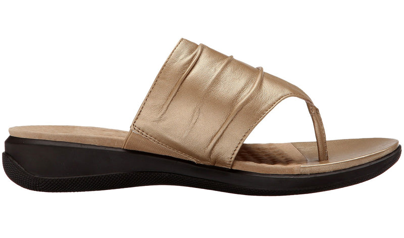 Softwalk Womens Summer Wide Width Leather Sandals Wedge Slides