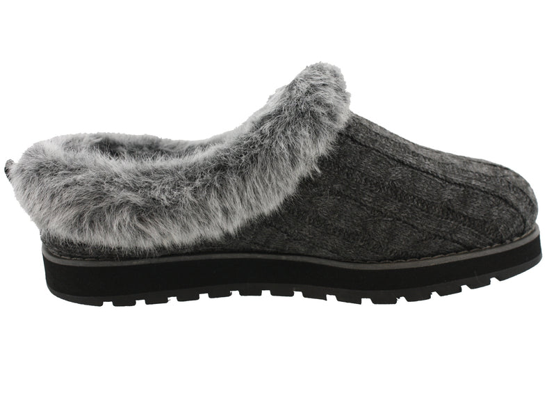 Skechers Women Medium Width Furry Cozy Open Back Slippers Ice Angel