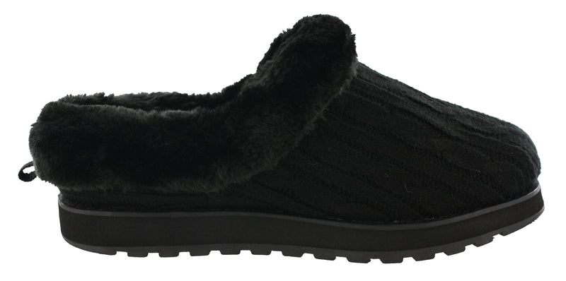 Skechers Women Wide Width Furry Cozy Open Back Slippers Ice Angel