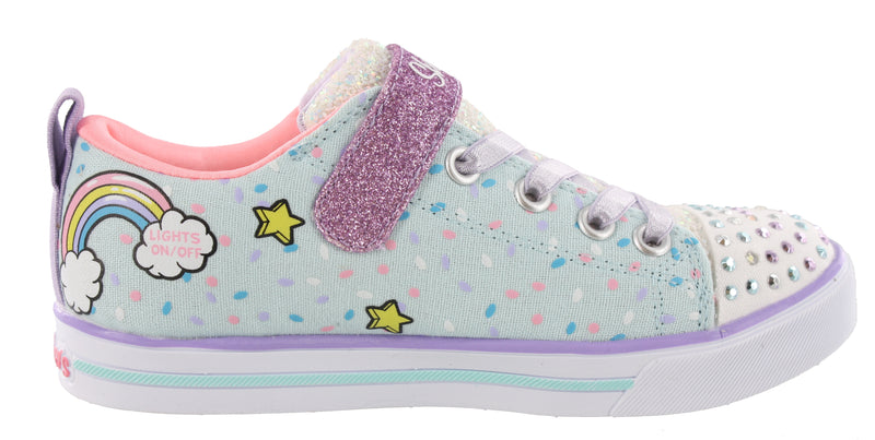 Skechers Twinkle Toes Girls Strap Light Up Shoes Unicorn Craze