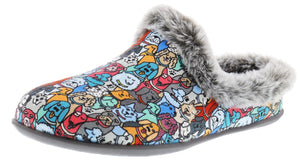 ,Blue/Multi603, Skechers Women Bobs Beach Bonfire Warm Woof Memory Foam Slippers
