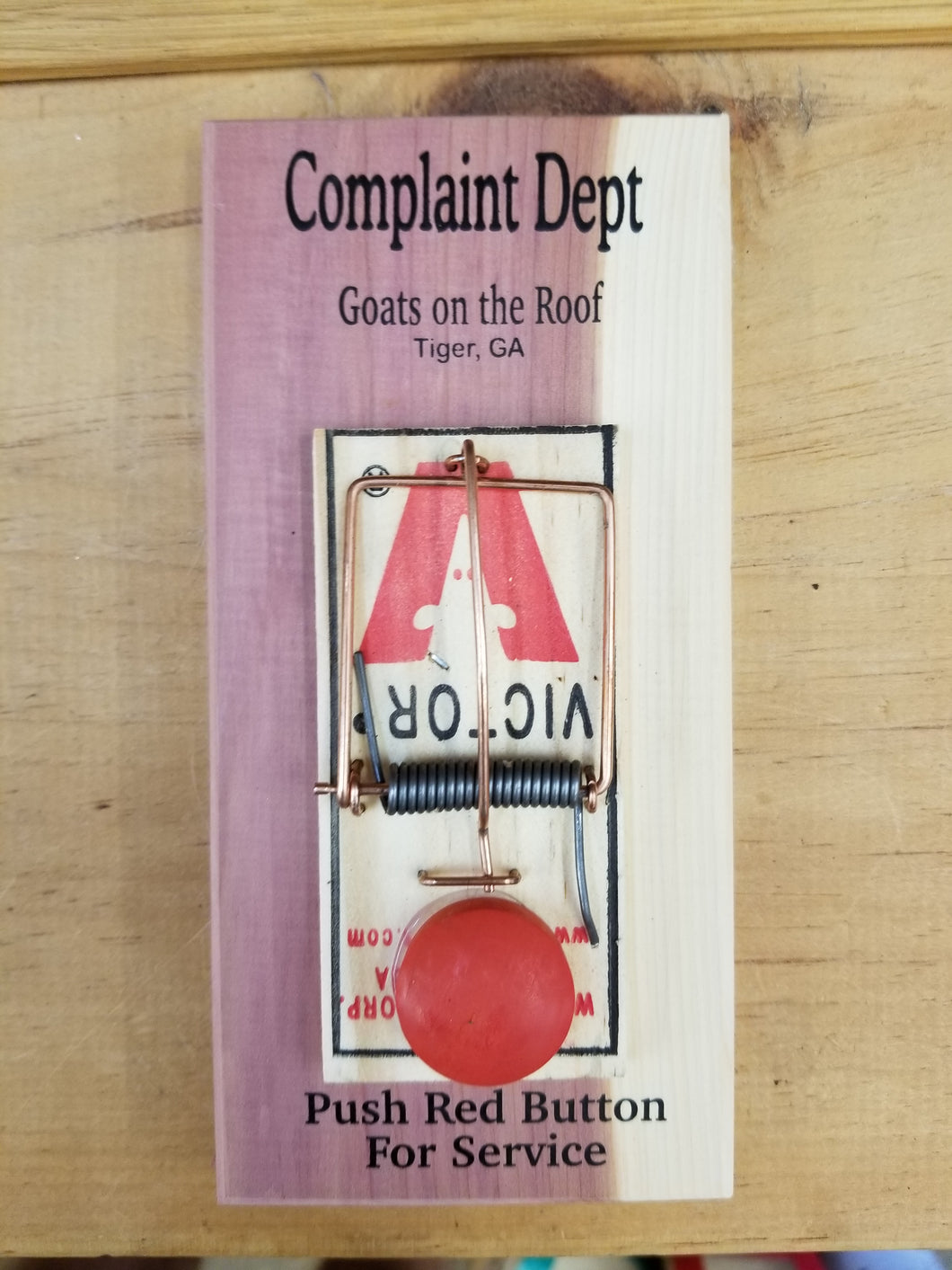 Wooden Complaint Department Button