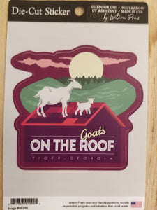Die Cut Sticker Purple Goats on the Roof