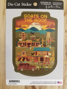 Die Cut Sticker Goats on the Roof Action