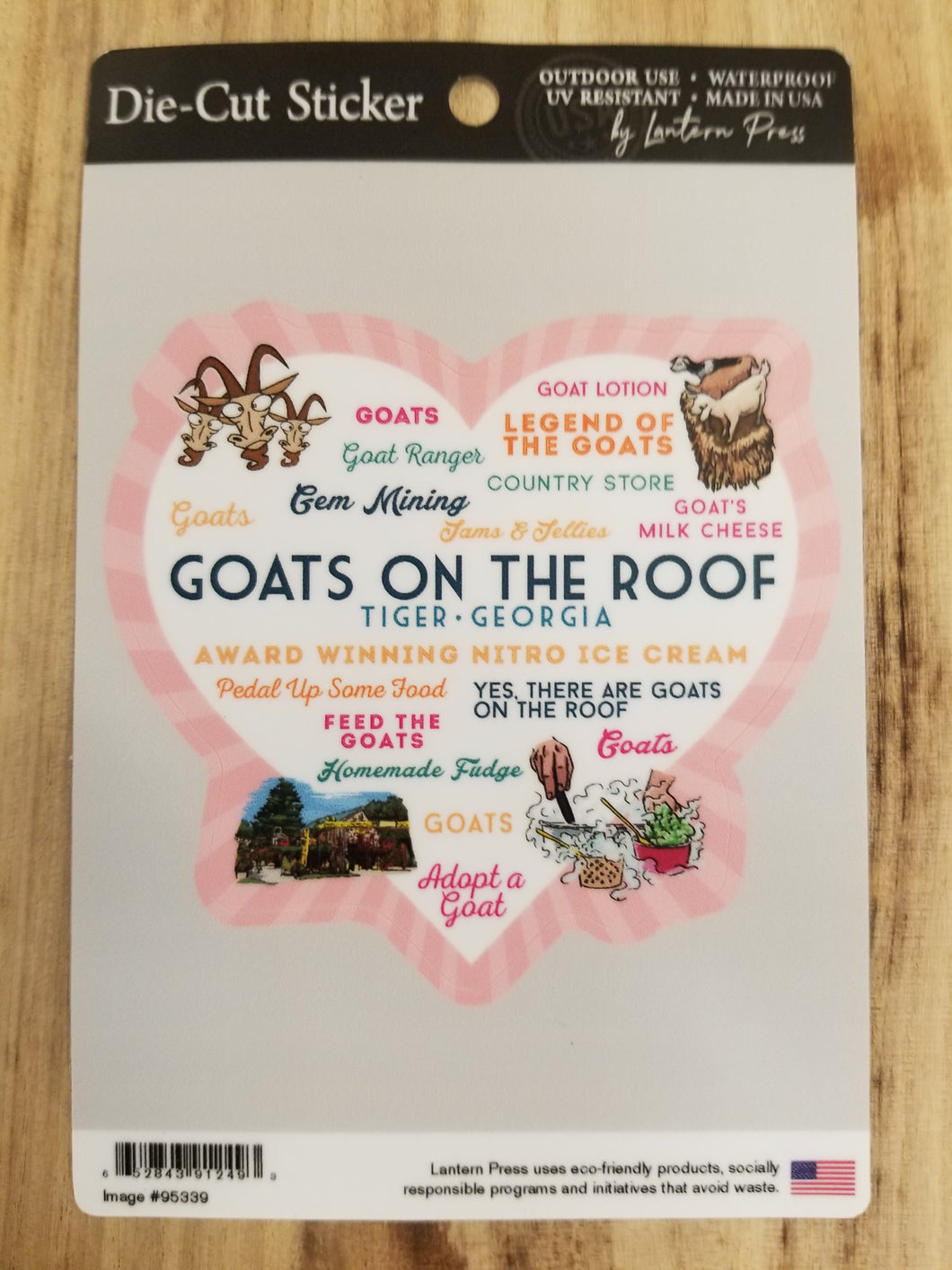 Die Cut Sticker Goats on the Roof Heart