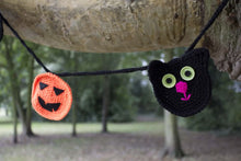 Load image into Gallery viewer, Black Cat & Pumpkin Bunting, Halloween Garland