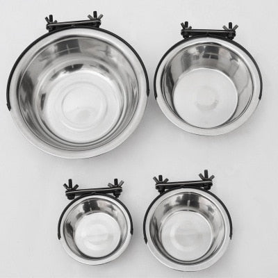 Dog Feeder Stainless Steel Bowls for Pet dog and Cat Cage Hanging Fixes Dog Bowl Cat food bowl comedero perro gamelle chien