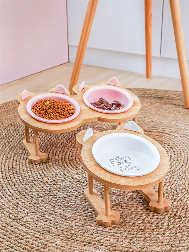 Ceramics Puppy Cat Dog Pet Single And Double Food Bowl For Eating And Drinking With Wooden Frame Pets Supplies Feeding Dish