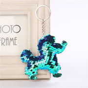 New Arrival Glitter Sequins Cute Pet Poodle Dog and Cat Keychain for Women Girls Handbag Purse Keyring Jewelry Gift