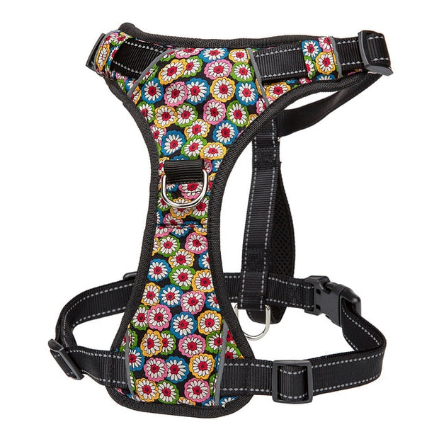 No Pull Nylon Dog Harness Vest Reflective K9 Dog Harness Adjustable Printed Pet Puppy Harnesses For Small Medium Large Dogs S-XL